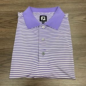 FootJoy Purple & White Stripe Golf Polo Shirt L